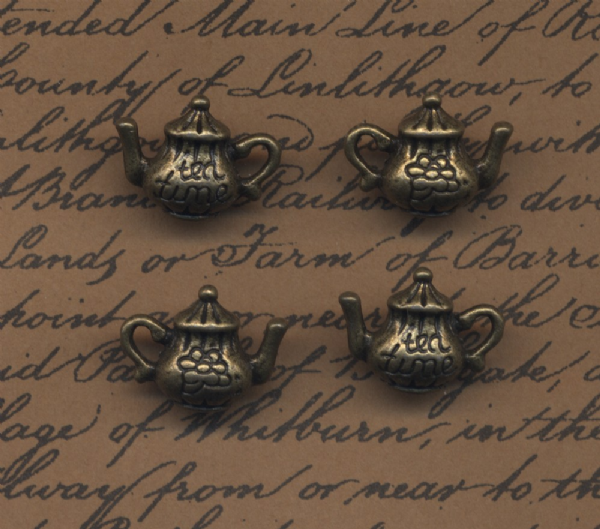 4 Steampunk Teapot Charms